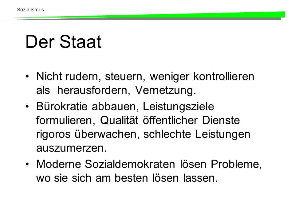 Sozialismus Der Staat Nicht rudern, steuern, weniger kontrollieren als herausfordern, Vernetzung. Bürokratie abbauen, Leistungsziele formulieren, Qual