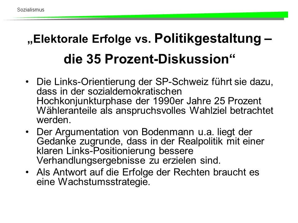 Sozialismus Elektorale Erfolge vs. Politikgestaltung – die 35 Prozent-Diskussion Die Links-Orientierung der SP-Schweiz führt sie dazu, dass in der soz
