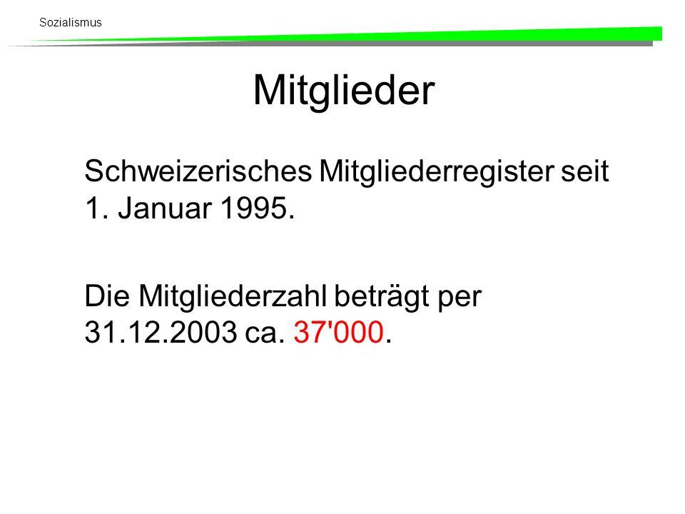 Sozialismus Mitglieder Schweizerisches Mitgliederregister seit 1. Januar 1995. Die Mitgliederzahl beträgt per 31.12.2003 ca. 37'000.