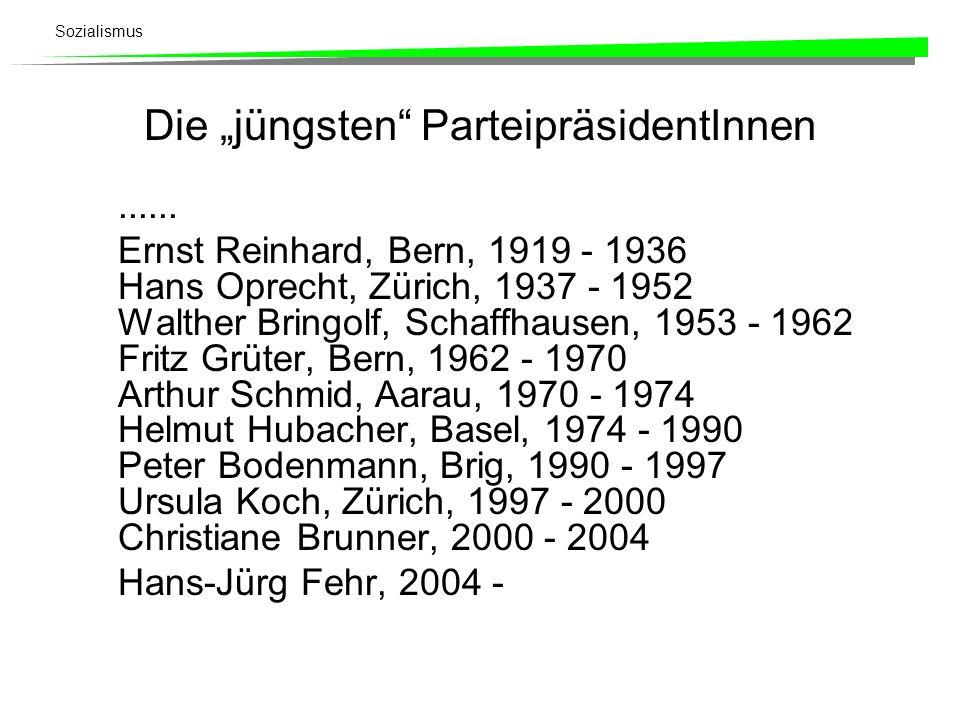 Sozialismus SP-BundesrätInnen Micheline Calmy-Rey (2002 -) Moritz Leuenberger (1995 - ) Ruth Dreifuss (1993 - ) Otto Stich (1983 - 1995) René Felber (1987 - 1993) Pierre Aubert (1977 - 1987) Willi Ritschard (1973 - 1983) Pierre Graber (1969 - 1977) Hans Peter Tschudi (1959 - 1973) Willy Spühler (1959 - 1969) Max Weber (1951 - 1953) Ernst Nobs (1943 - 1951)