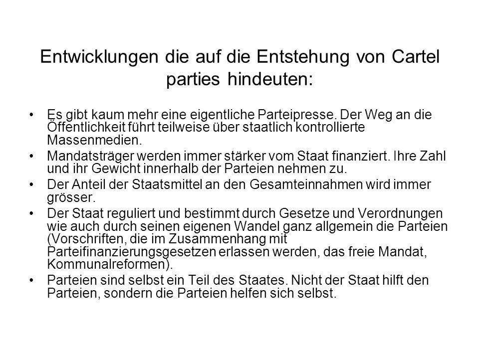 Entwicklungen die auf die Entstehung von Cartel parties hindeuten: Es gibt kaum mehr eine eigentliche Parteipresse. Der Weg an die Öffentlichkeit führ