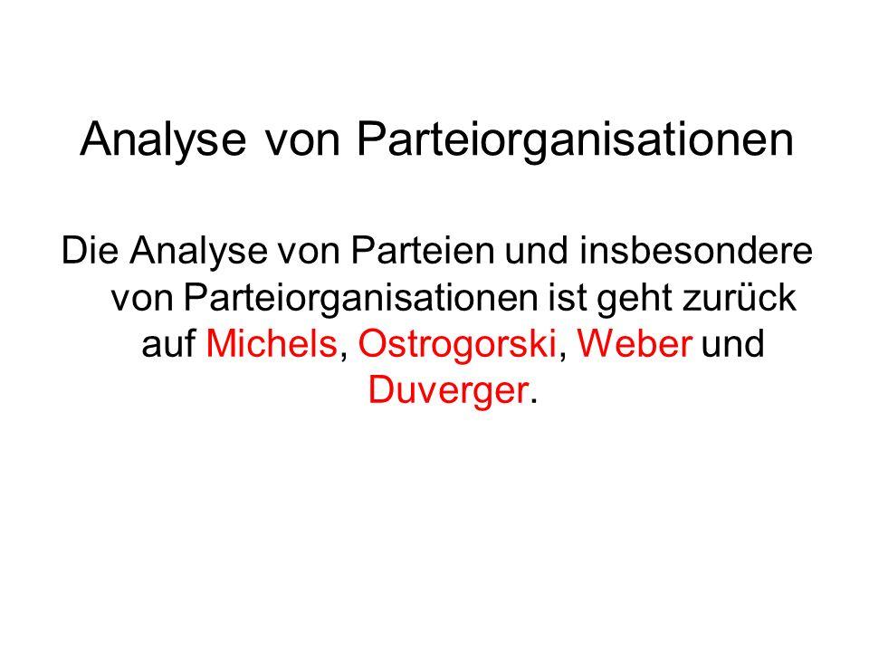 Analyse von Parteiorganisationen Die Analyse von Parteien und insbesondere von Parteiorganisationen ist geht zurück auf Michels, Ostrogorski, Weber un