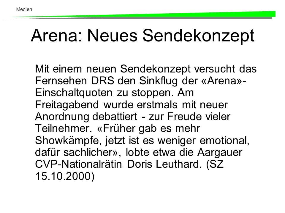 Medien SVP und SP in der Arena übervertreten Eine Statistik der SonntagsZeitung (15.10.2000) zeigt jetzt, dass die SVP, gemessen an ihrem Wähleranteil, in der «Arena» tatsächlich klar übervertreten ist.