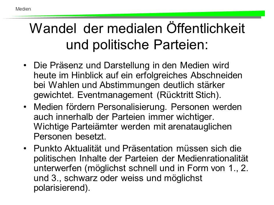 Medien In der Schweiz gibt es (noch ) keine Anzeichen für die Herausbildung einer Medienpartei.
