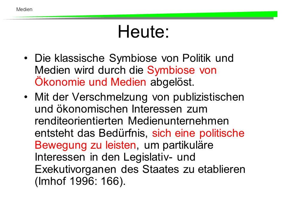 Medien Bis in die 1960er Jahre Es bestehen direkte Verbindung zwischen Medien und politischen Parteien.