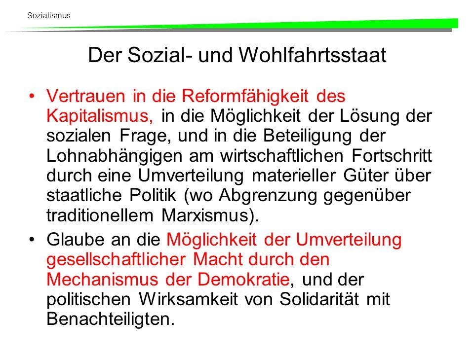 Sozialismus Der Sozial- und Wohlfahrtsstaat Vertrauen in die Reformfähigkeit des Kapitalismus, in die Möglichkeit der Lösung der sozialen Frage, und i