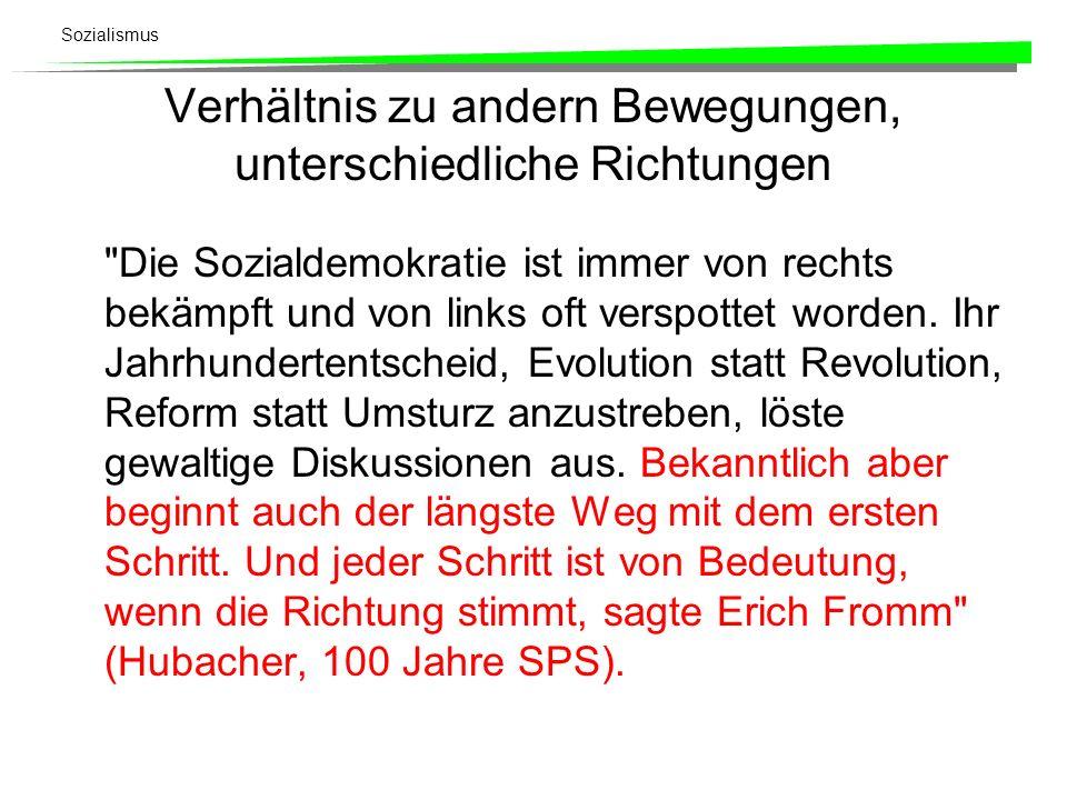 Sozialismus Verhältnis zu andern Bewegungen, unterschiedliche Richtungen