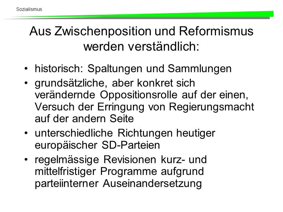 Sozialismus Aus Zwischenposition und Reformismus werden verständlich: historisch: Spaltungen und Sammlungen grundsätzliche, aber konkret sich veränder