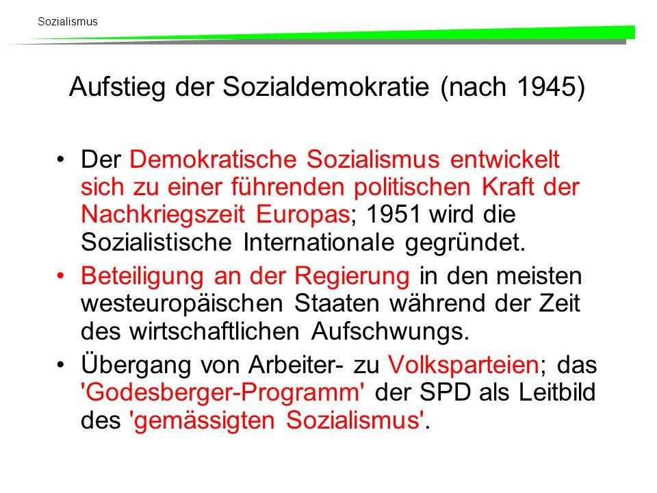 Sozialismus Aufstieg der Sozialdemokratie (nach 1945) Der Demokratische Sozialismus entwickelt sich zu einer führenden politischen Kraft der Nachkrieg