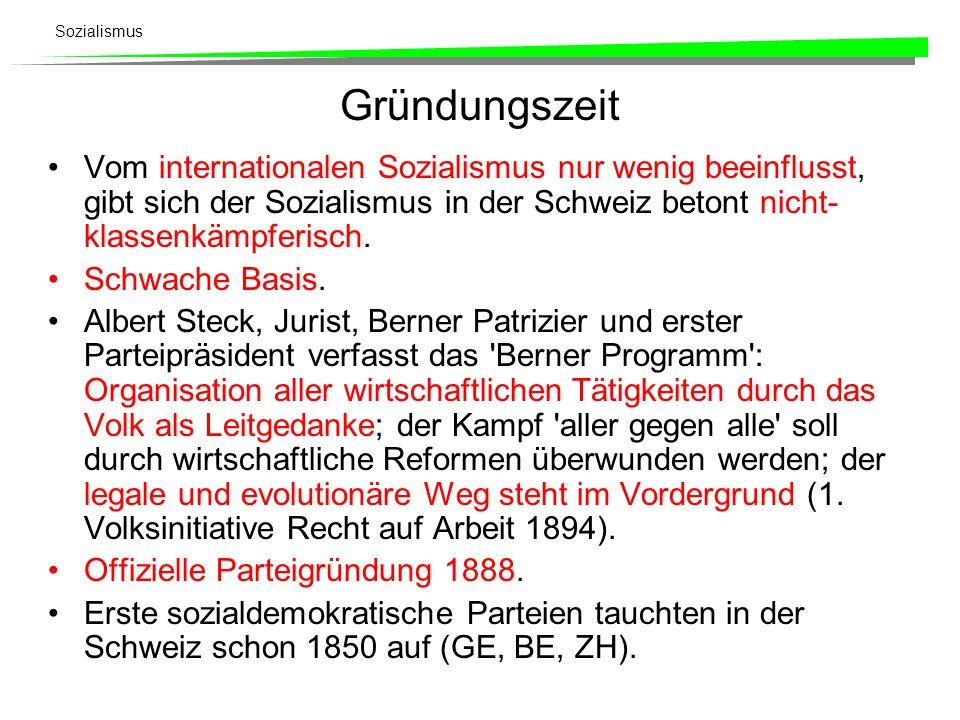 Sozialismus Gründungszeit Vom internationalen Sozialismus nur wenig beeinflusst, gibt sich der Sozialismus in der Schweiz betont nicht- klassenkämpfer