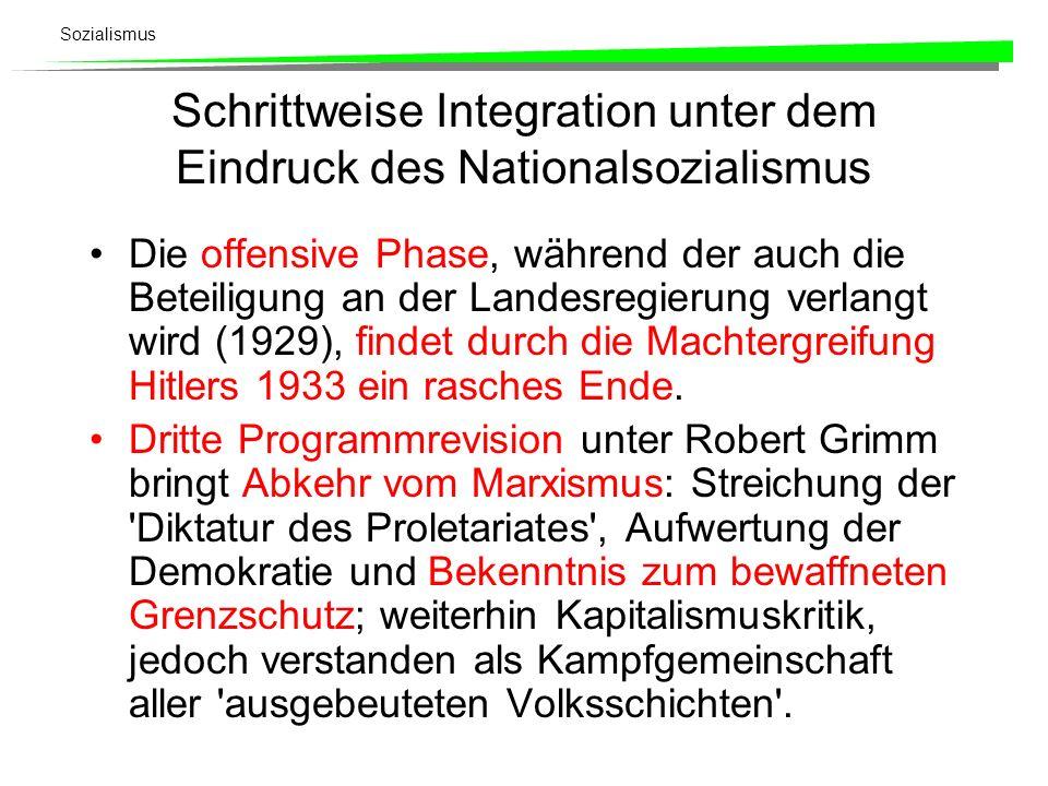 Sozialismus Schrittweise Integration unter dem Eindruck des Nationalsozialismus Die offensive Phase, während der auch die Beteiligung an der Landesreg