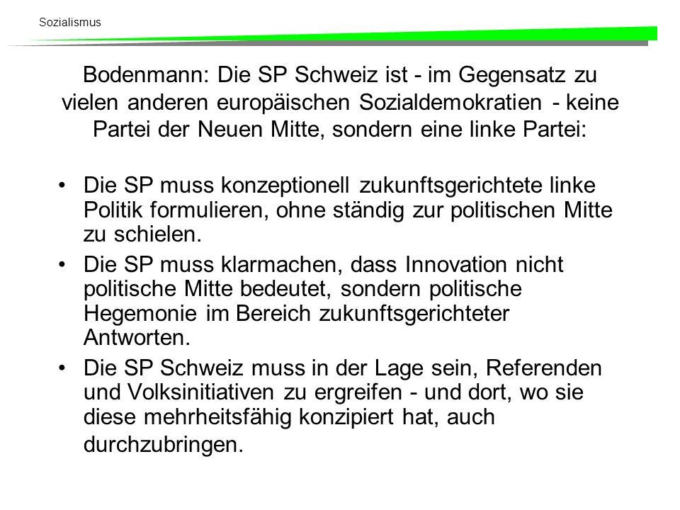 Sozialismus Bodenmann: Die SP Schweiz ist - im Gegensatz zu vielen anderen europäischen Sozialdemokratien - keine Partei der Neuen Mitte, sondern eine