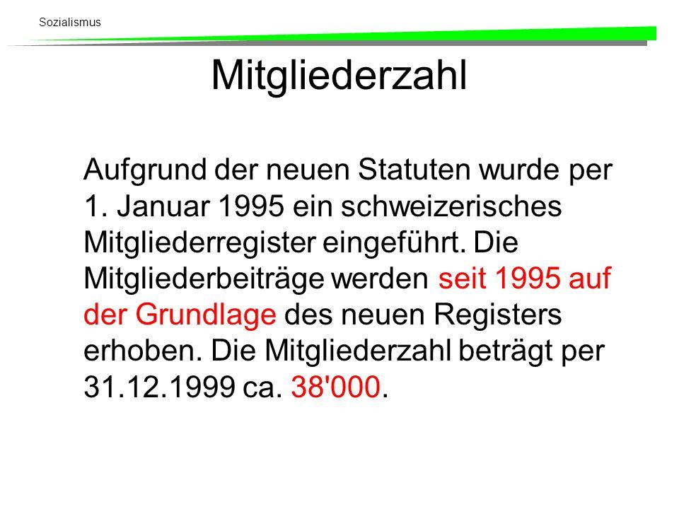Mitgliederzahl Aufgrund der neuen Statuten wurde per 1. Januar 1995 ein schweizerisches Mitgliederregister eingeführt. Die Mitgliederbeiträge werden s
