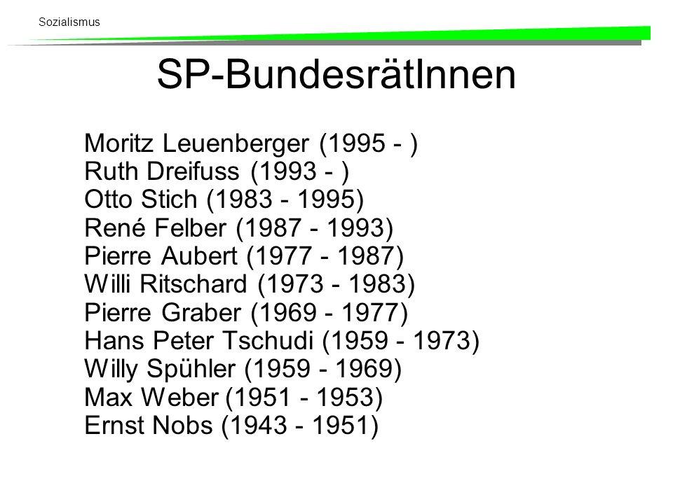 Sozialismus SP-BundesrätInnen Moritz Leuenberger (1995 - ) Ruth Dreifuss (1993 - ) Otto Stich (1983 - 1995) René Felber (1987 - 1993) Pierre Aubert (1
