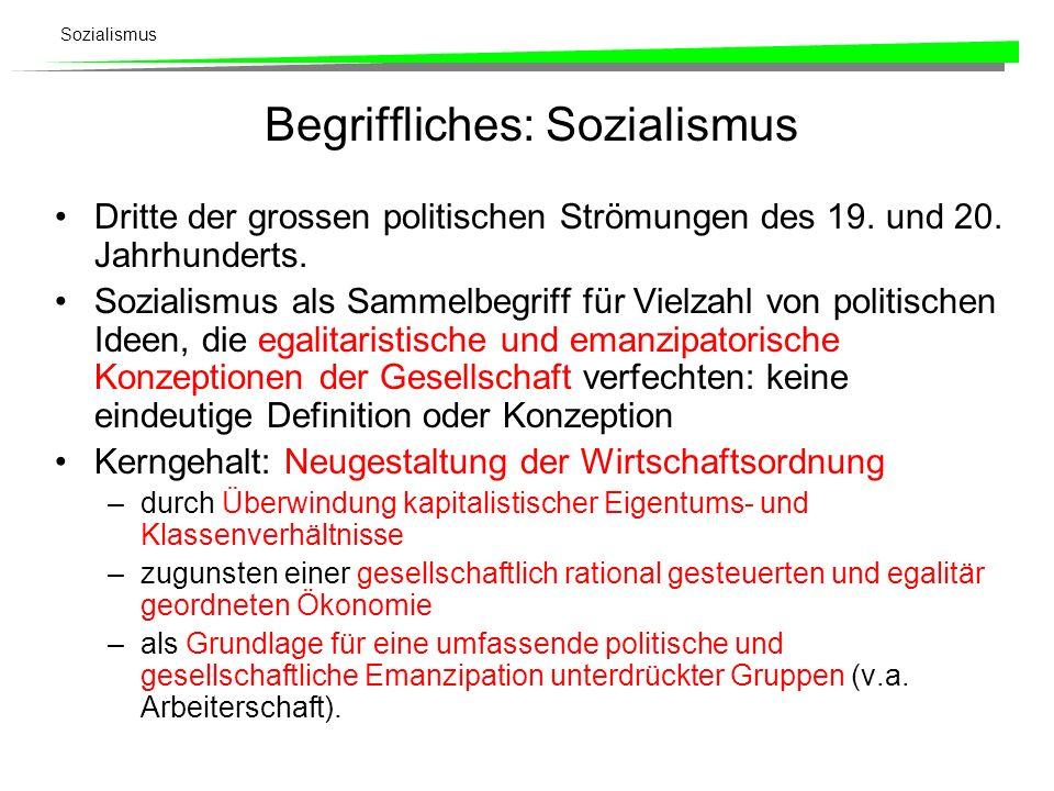 Sozialismus Begriffliches: Sozialismus Dritte der grossen politischen Strömungen des 19. und 20. Jahrhunderts. Sozialismus als Sammelbegriff für Vielz