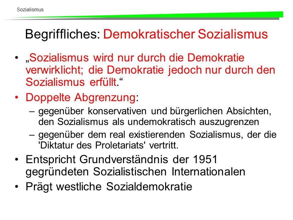 Sozialismus Begriffliches: Demokratischer Sozialismus Sozialismus wird nur durch die Demokratie verwirklicht; die Demokratie jedoch nur durch den Sozi