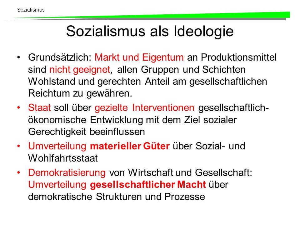 Sozialismus Sozialismus als Ideologie Grundsätzlich: Markt und Eigentum an Produktionsmittel sind nicht geeignet, allen Gruppen und Schichten Wohlstan