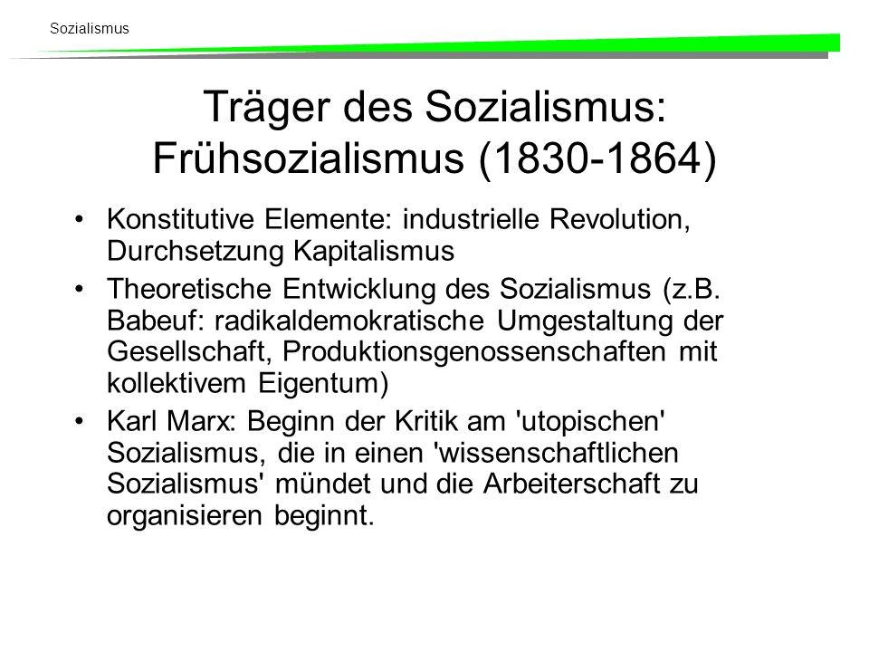 Sozialismus Träger des Sozialismus: Frühsozialismus (1830-1864) Konstitutive Elemente: industrielle Revolution, Durchsetzung Kapitalismus Theoretische