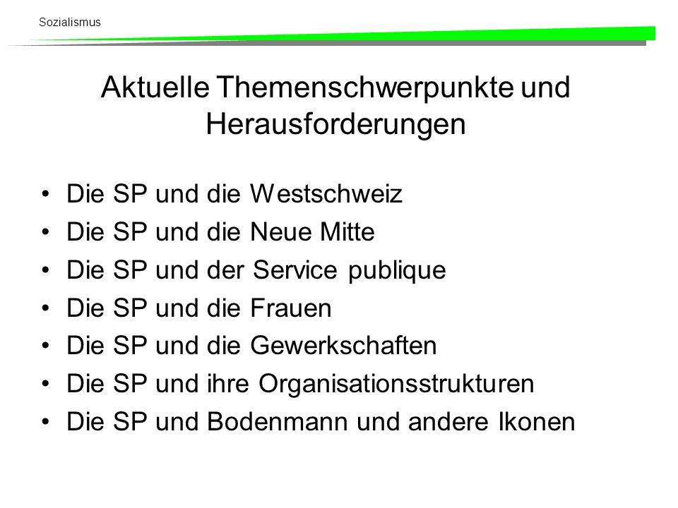 Sozialismus Aktuelle Themenschwerpunkte und Herausforderungen Die SP und die Westschweiz Die SP und die Neue Mitte Die SP und der Service publique Die