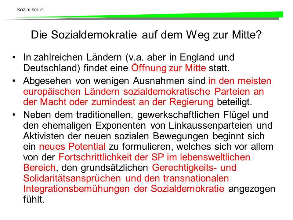 Sozialismus Die Sozialdemokratie auf dem Weg zur Mitte? In zahlreichen Ländern (v.a. aber in England und Deutschland) findet eine Öffnung zur Mitte st