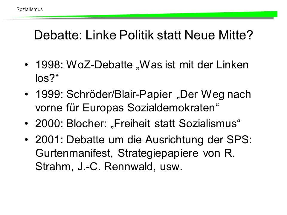 Sozialismus Debatte: Linke Politik statt Neue Mitte? 1998: WoZ-Debatte Was ist mit der Linken los? 1999: Schröder/Blair-Papier Der Weg nach vorne für