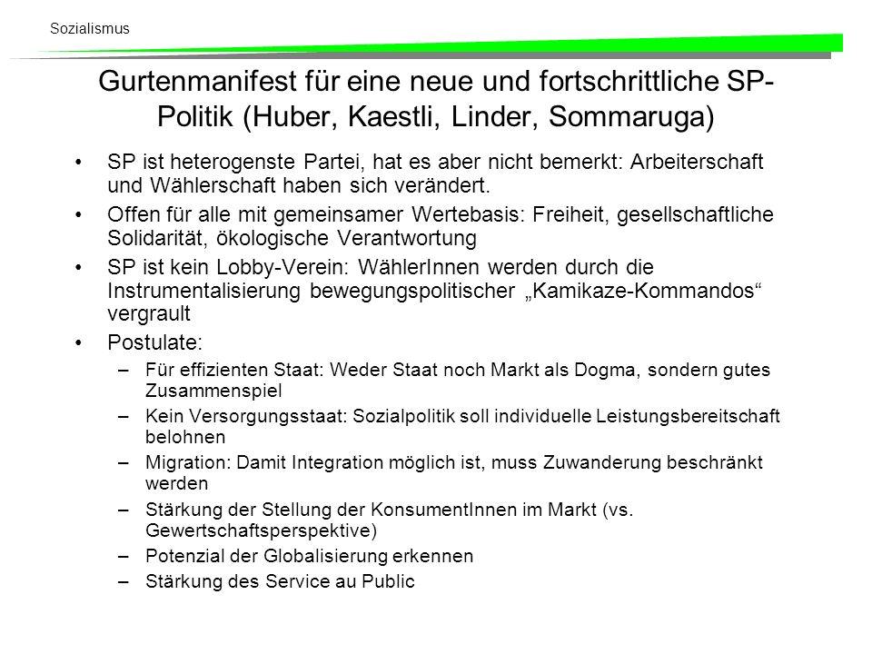 Sozialismus Gurtenmanifest für eine neue und fortschrittliche SP- Politik (Huber, Kaestli, Linder, Sommaruga) SP ist heterogenste Partei, hat es aber