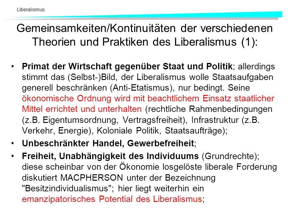 Liberalismus Gemeinsamkeiten/Kontinuitäten der verschiedenen Theorien und Praktiken des Liberalismus (1): Primat der Wirtschaft gegenüber Staat und Po