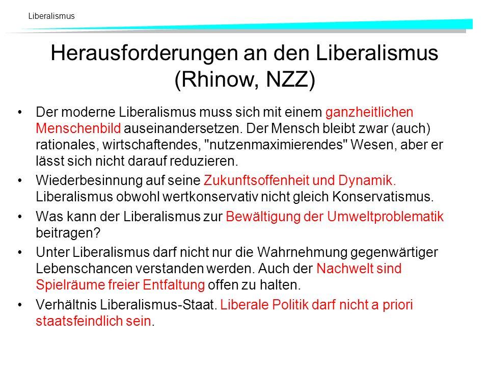 Liberalismus Herausforderungen an den Liberalismus (Rhinow, NZZ) Der moderne Liberalismus muss sich mit einem ganzheitlichen Menschenbild auseinanders