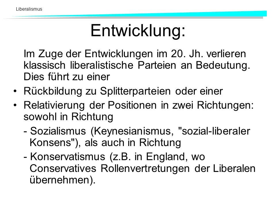 Liberalismus Entwicklung: Im Zuge der Entwicklungen im 20. Jh. verlieren klassisch liberalistische Parteien an Bedeutung. Dies führt zu einer Rückbild