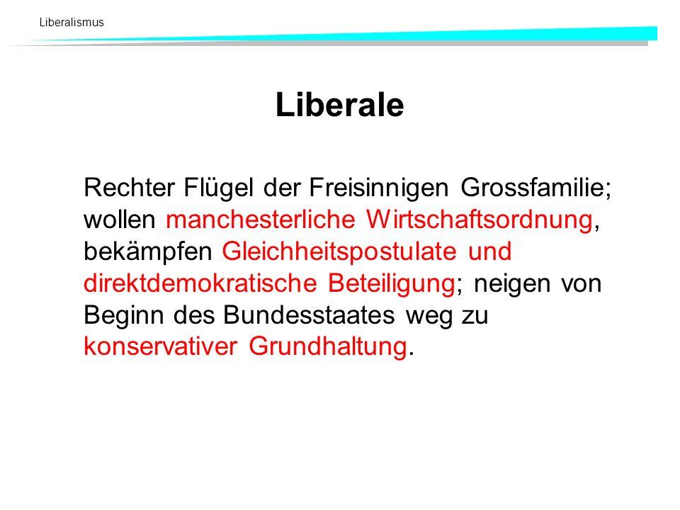 Liberalismus Liberale Rechter Flügel der Freisinnigen Grossfamilie; wollen manchesterliche Wirtschaftsordnung, bekämpfen Gleichheitspostulate und dire