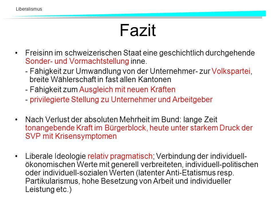 Liberalismus Fazit Freisinn im schweizerischen Staat eine geschichtlich durchgehende Sonder- und Vormachtstellung inne. - Fähigkeit zur Umwandlung von
