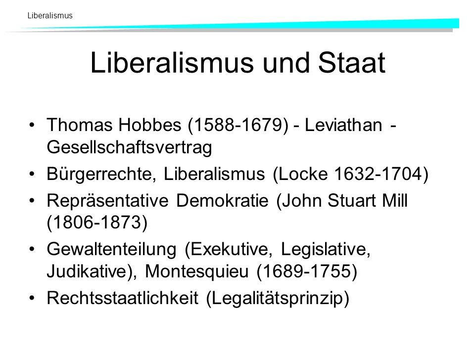 Liberalismus Liberalismus und Staat Thomas Hobbes (1588-1679) - Leviathan - Gesellschaftsvertrag Bürgerrechte, Liberalismus (Locke 1632-1704) Repräsen