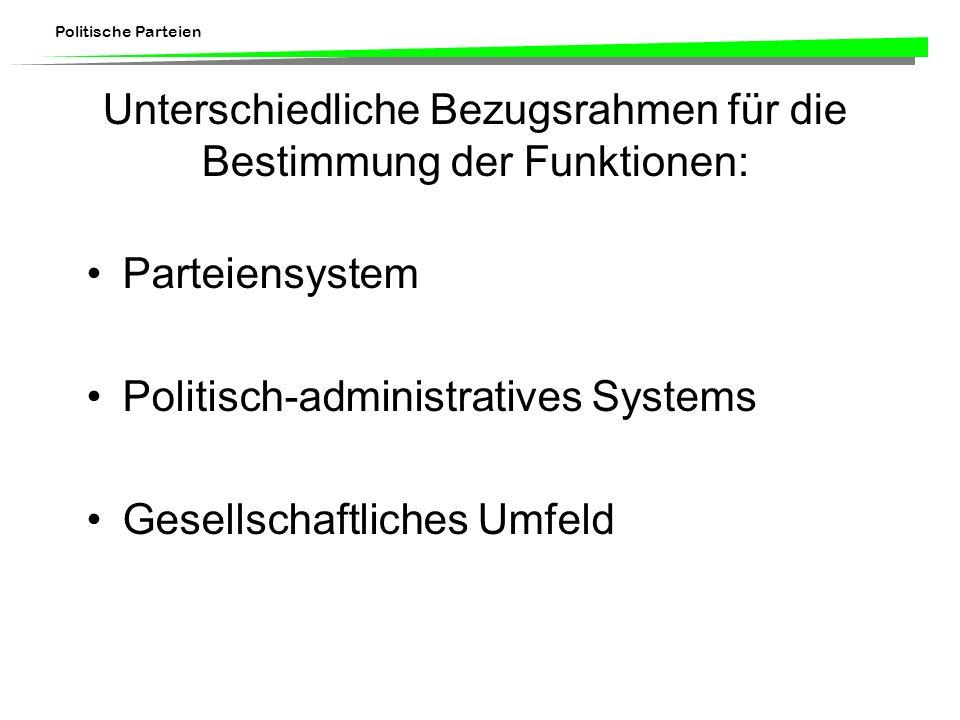 Politische Parteien Unterschiedliche Bezugsrahmen für die Bestimmung der Funktionen: Parteiensystem Politisch-administratives Systems Gesellschaftlich