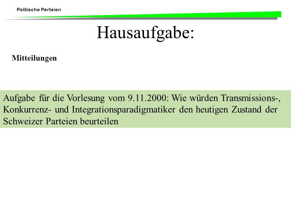 Politische Parteien Hausaufgabe: Mitteilungen Aufgabe für die Vorlesung vom 9.11.2000: Wie würden Transmissions-, Konkurrenz- und Integrationsparadigm