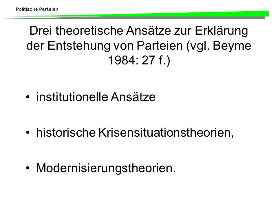 Politische Parteien Drei theoretische Ansätze zur Erklärung der Entstehung von Parteien (vgl. Beyme 1984: 27 f.) institutionelle Ansätze historische K