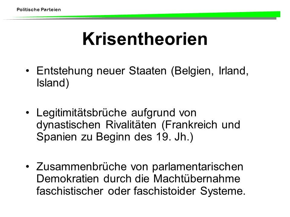 Politische Parteien Krisentheorien Entstehung neuer Staaten (Belgien, Irland, Island) Legitimitätsbrüche aufgrund von dynastischen Rivalitäten (Frankr