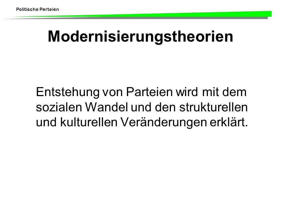 Politische Parteien Modernisierungstheorien Entstehung von Parteien wird mit dem sozialen Wandel und den strukturellen und kulturellen Veränderungen e