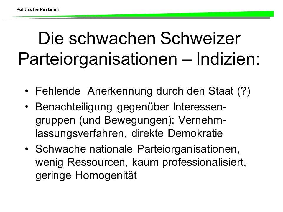 Politische Parteien Die schwachen Schweizer Parteiorganisationen – Indizien: Fehlende Anerkennung durch den Staat (?) Benachteiligung gegenüber Intere