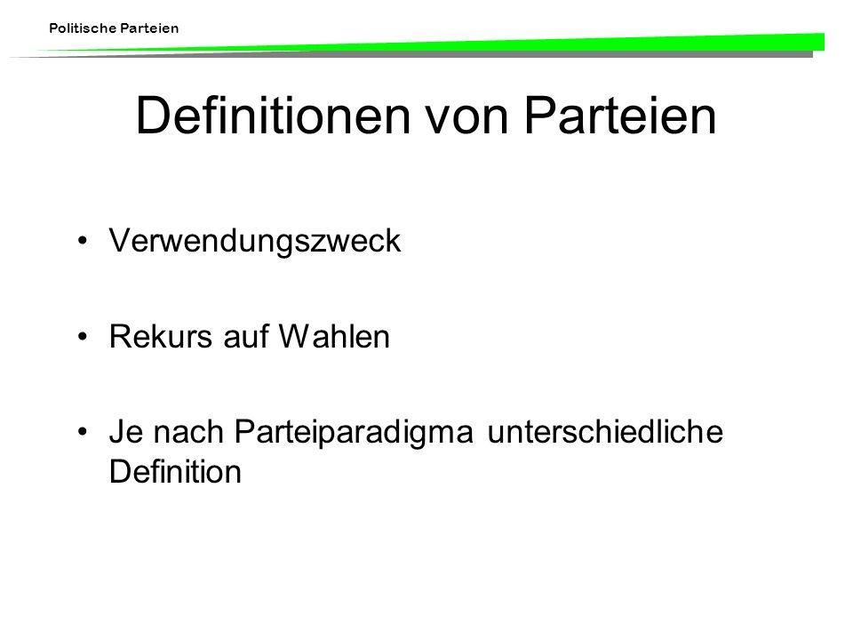 Politische Parteien Definitionen von Parteien Verwendungszweck Rekurs auf Wahlen Je nach Parteiparadigma unterschiedliche Definition