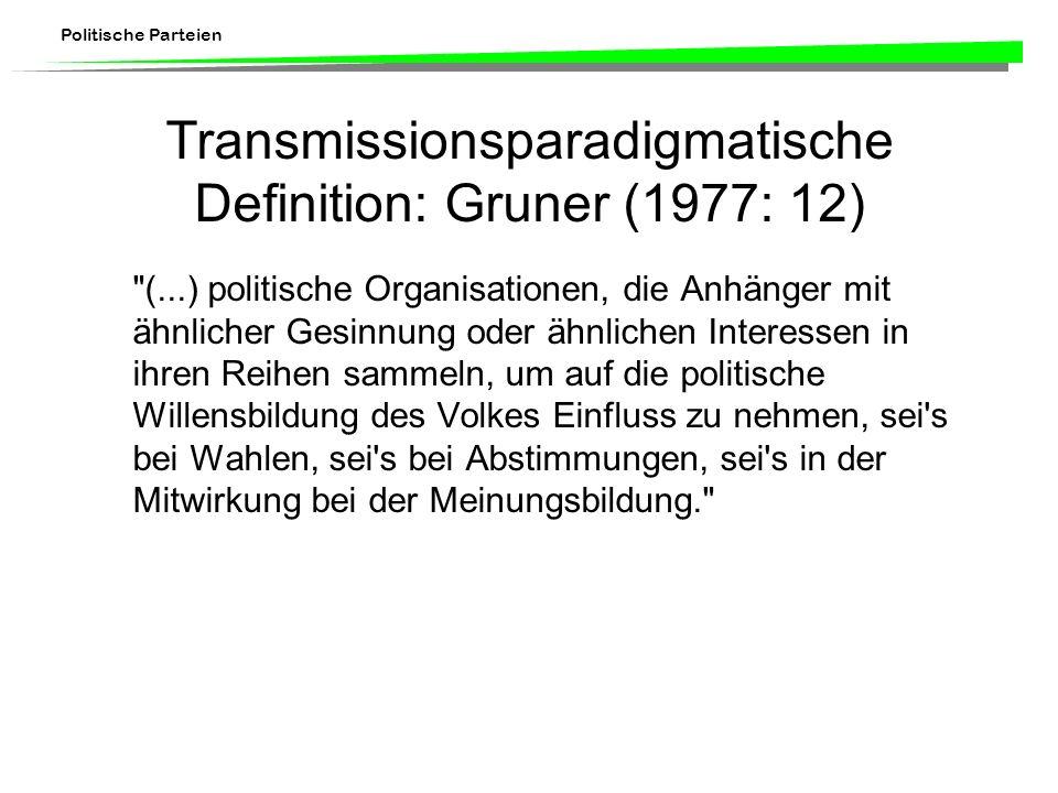 Politische Parteien Transmissionsparadigmatische Definition: Gruner (1977: 12)