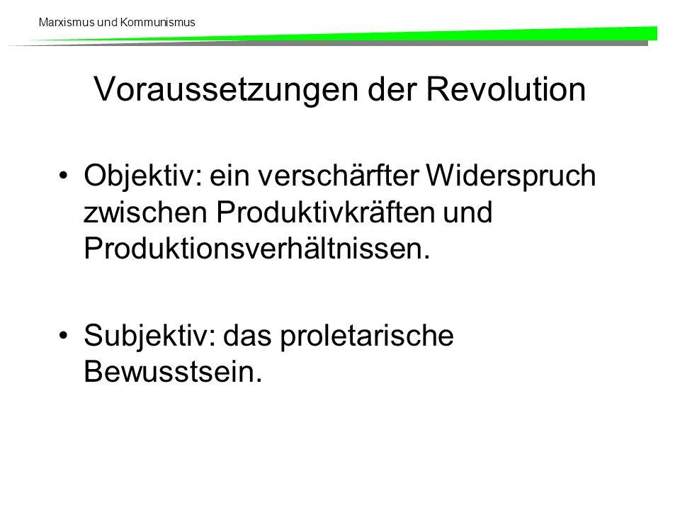 Marxismus und Kommunismus Voraussetzungen der Revolution Objektiv: ein verschärfter Widerspruch zwischen Produktivkräften und Produktionsverhältnissen
