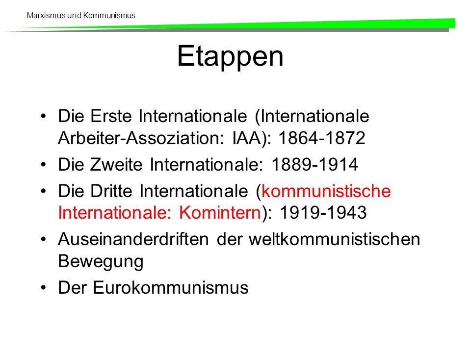 Marxismus und Kommunismus Etappen Die Erste Internationale (Internationale Arbeiter-Assoziation: IAA): 1864-1872 Die Zweite Internationale: 1889-1914