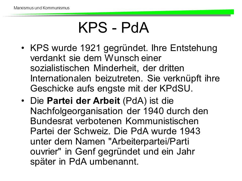 Marxismus und Kommunismus KPS - PdA KPS wurde 1921 gegründet. Ihre Entstehung verdankt sie dem Wunsch einer sozialistischen Minderheit, der dritten In