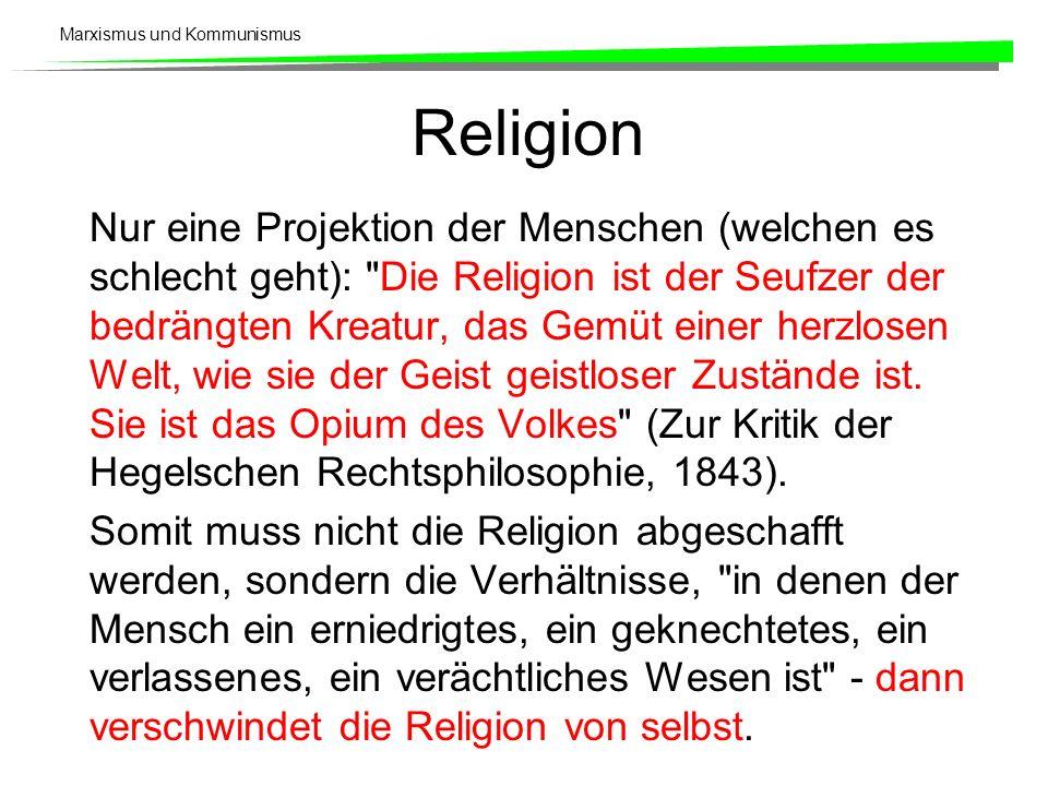 Marxismus und Kommunismus Religion Nur eine Projektion der Menschen (welchen es schlecht geht):