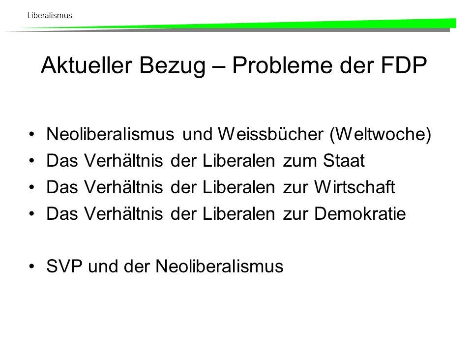 Liberalismus Aktueller Bezug – Probleme der FDP Neoliberalismus und Weissbücher (Weltwoche) Das Verhältnis der Liberalen zum Staat Das Verhältnis der Liberalen zur Wirtschaft Das Verhältnis der Liberalen zur Demokratie SVP und der Neoliberalismus