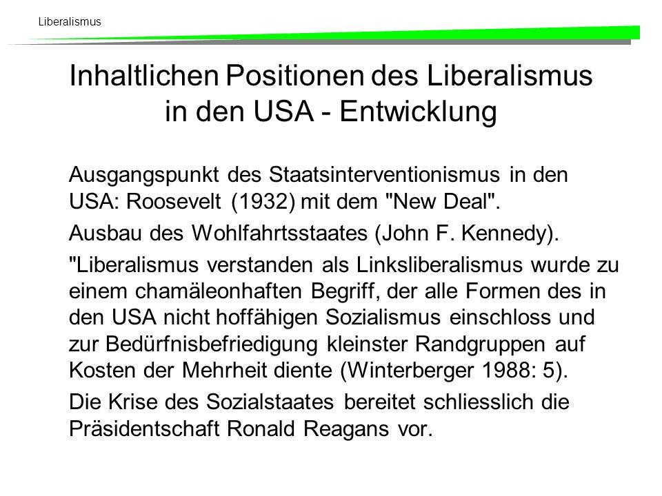 Liberalismus Entwicklung: Im Zuge der Entwicklungen im 20.