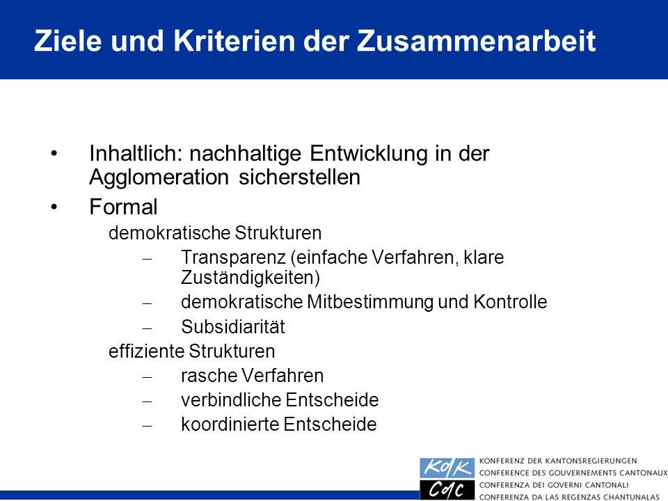 12 Inhaltlich: nachhaltige Entwicklung in der Agglomeration sicherstellen Formal demokratische Strukturen Transparenz (einfache Verfahren, klare Zustä