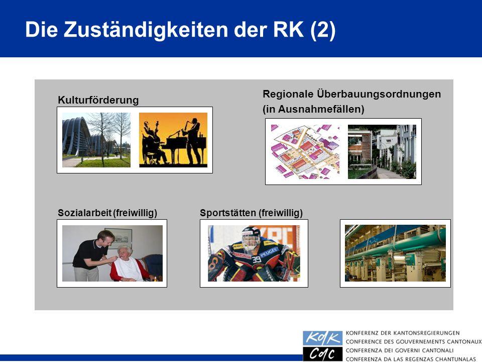 21 Wirtschaftsförderung (freiwillig) Kulturförderung Regionale Überbauungsordnungen (in Ausnahmefällen) Sozialarbeit (freiwillig)Sportstätten (freiwillig) Die Zuständigkeiten der RK (2)