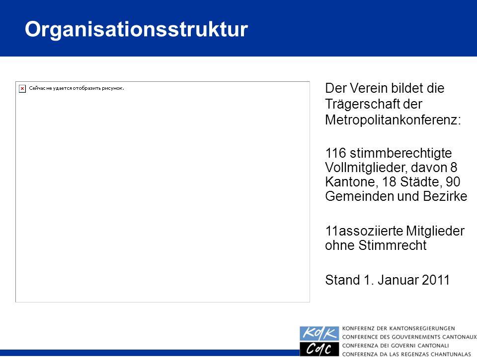 Organisationsstruktur Der Verein bildet die Trägerschaft der Metropolitankonferenz: 116 stimmberechtigte Vollmitglieder, davon 8 Kantone, 18 Städte, 9