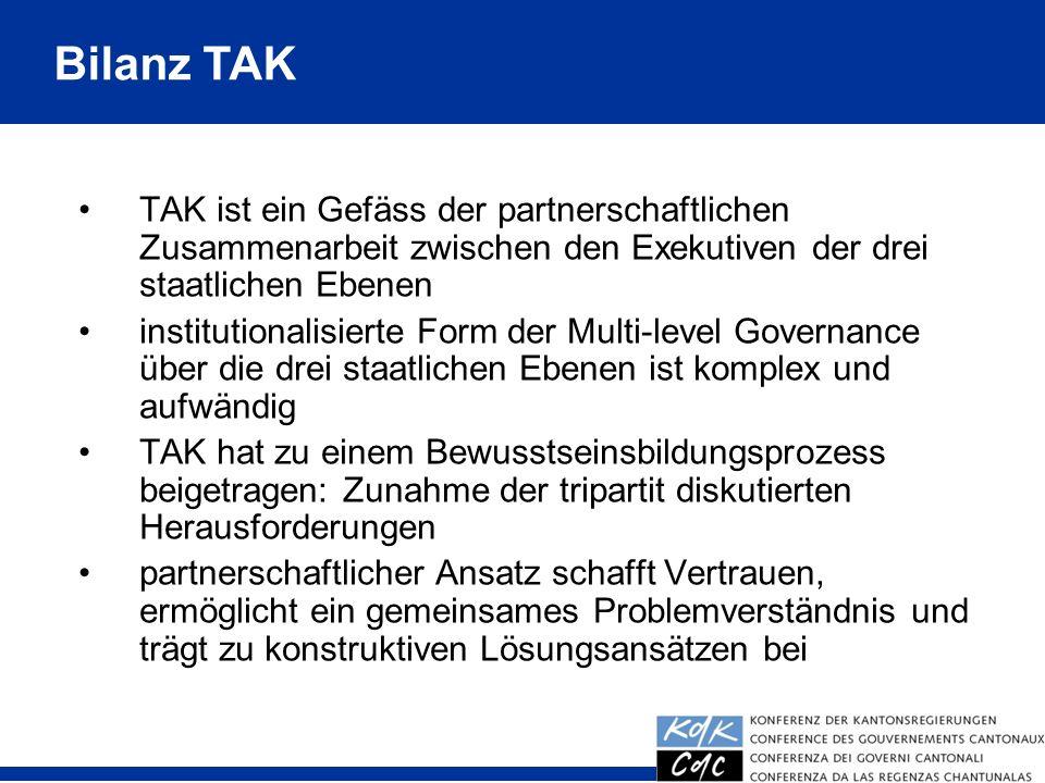 37 TAK ist ein Gefäss der partnerschaftlichen Zusammenarbeit zwischen den Exekutiven der drei staatlichen Ebenen institutionalisierte Form der Multi-l